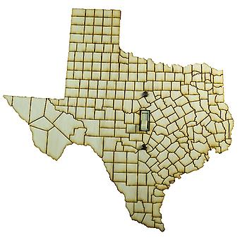 Texas map switch plate - raw wood - 10.8
