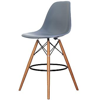 Charles Eames Style Steel Blue Plastic Bar Stool