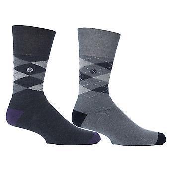 Mens Grey Argyle Cushion Foot Honeycombe Top Gentle Grip Sock By Sock Shop 2pk