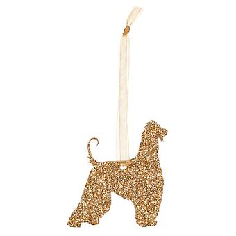 Gold Afghan Hound Style 2 Glitter  Christmas Decoration