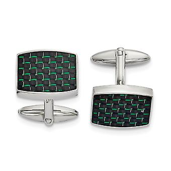 19.25mm Stainless Steel Polished Black and Green Carbon Fiber Inlay Cuff Links Jewelry Gifts for Men