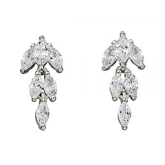 Joshua James Allure Silver & Cz Marquise Drop Earrings