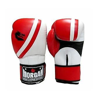 Morgan V2 Professional Leather Boxing Gloves Red White