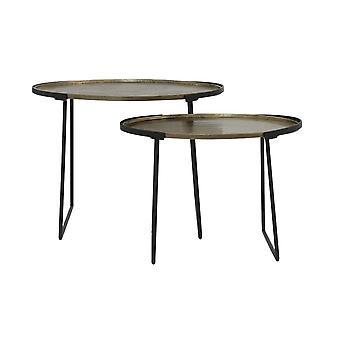 Light & Living Side Table Set Of 2 Max 65x46x48cm Roja Raw Antique Bronze-Mat.Black