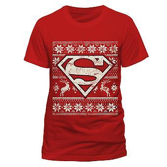 Superman aikuiset Unisex aikuiset Fair Isle logo Christmas Design T-paita