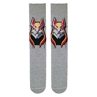 Fortnite Drift Cat Mask Boys/Men's Grey Socks