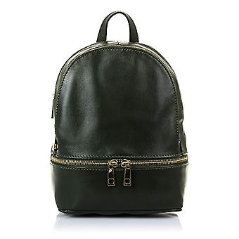 FIRENZE ARTEGIANI. Real casual women's leather backpack. Savage leather backpack bag soft touch. DAY PACK. MADE IN ITALY. REAL ITALIAN SKIN. 19x24x 10cm. Color: Dark Green