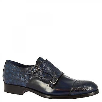 Men's handmade classy double monks shoes in blue calf leather crocodile print