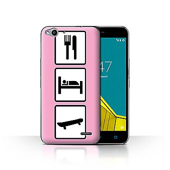 STUFF4 Case/Cover for Vodafone Smart Ultra 6/Skate/Skateboard/Pink/Eat/Sleep