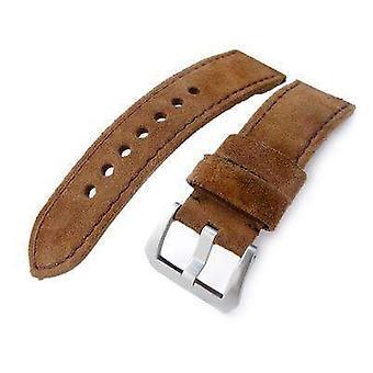 Strapcode læder urrem 24mm miltat mørkebrun nubuck læder ur band, brune syninger