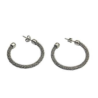 Sterling Silver Rhodium Mesh Creole Earrings By TOC