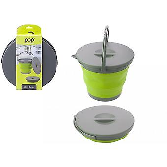 Summit Pop! 5L Collapsible Bucket with Lid Green/Grey