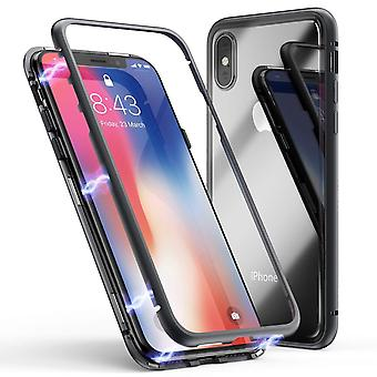 iPhone Xs Max magnetic shell - glass/metal - black