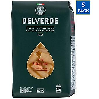 5 x 500g Delverde Rigatoni Pasta Vegan Food Durum Wheat Semolina Cooking