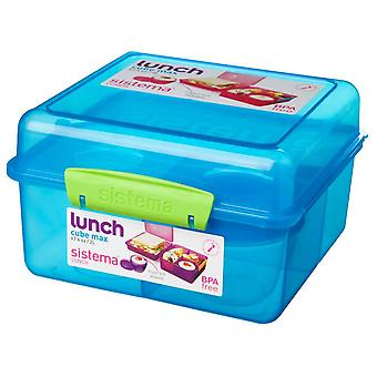 Sistema Lunch Cube Max Lunch Box with Yoghurt Pot, Blue