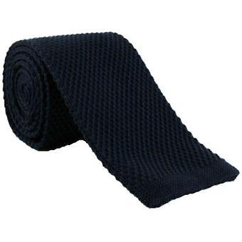 Eingewandt London dünn Seide gestrickter Tie - Navy