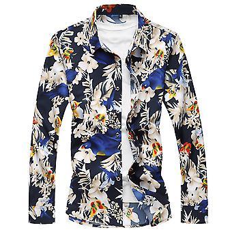 Allthemen Men's Floral Cotton Big Size Long Sleeves Casual Shirt