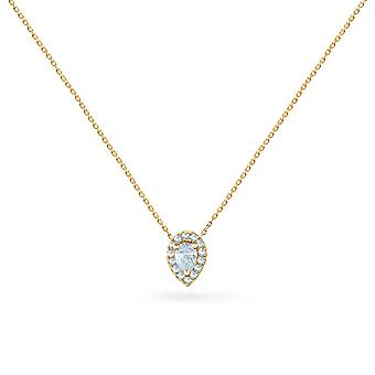 Necklace Pear Cut 18K Gold and Diamonds