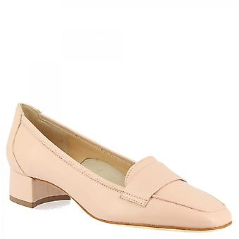 Leonardo Sko Dame's håndlagde lav hæl pumper sko pulver rosa napa skinn