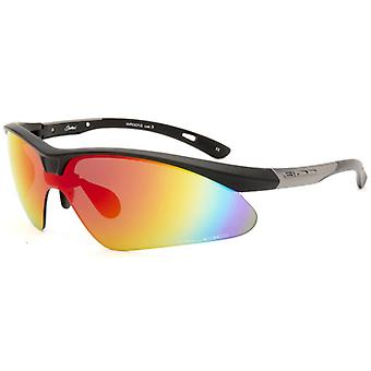 Bloc Eyewear Shadow Black Silver Frame Sport Sunglasses Red Cat 3 Lens