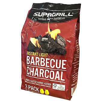 2 x 850g Supagrill Barbecue Charcoal Instant Light Quick BBQ Garden Grill