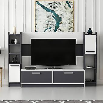 Mobile Talisa White Color TV Port, Anthrathic in Melaminic Chip 210x35x130 cm