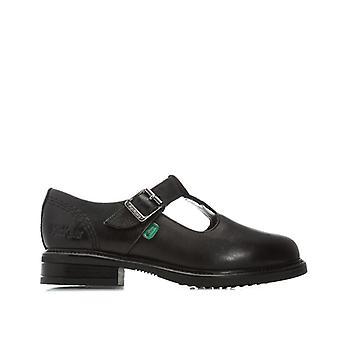 Girl's Kickers Niños Lach T-Bar Zapatos de Cuero en Negro