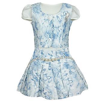 Set di 3 pezzi blu - vestito bambina