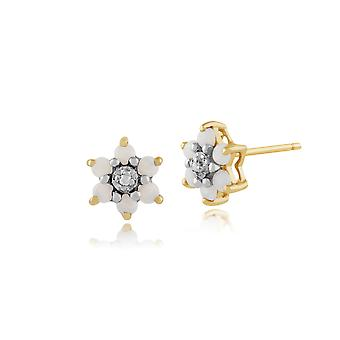 Floral Round Opal & Diamond Stud Earrings in 9ct Yellow Gold 181E0726029
