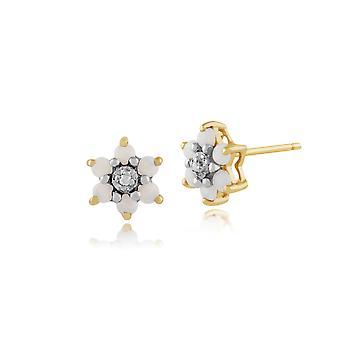 Kukka pyöreä Opaali & Diamond Stud korvakorut 9ct Keltainen Kulta 181E0726029