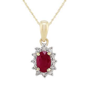 klassisk oval ruby & diamant klynge anheng halskjede i 9ct gult gull 27017