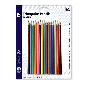 Pack 15 Assorted Colour Triangular Colouring Pencils