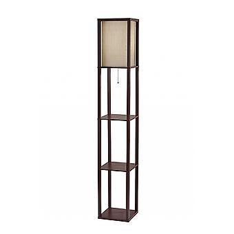 Floor Lamp with Walnut Wood Finish Storage Shelves