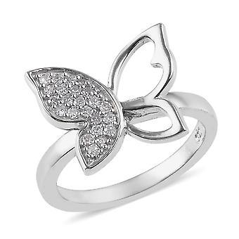 Schmetterling weiß Diamant Ring Frauen Sterling Silber Platin vergoldet TJC