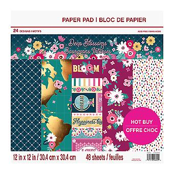 Craft Smith Deep Blossoms 12x12 Inch Paper Pad