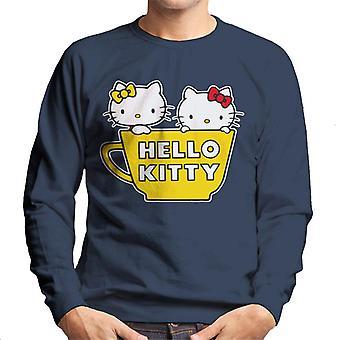 Hello Kitty And Mimmy In Yellow Teapot Men's Sweatshirt
