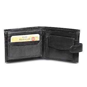 Primehide BASIC - Mens Leather Wallet - RFID Blocking - Preto / Marrom - 43