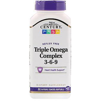 21st Century, Triple Omega Complex 3-6-9, 90 Softgels enteriques