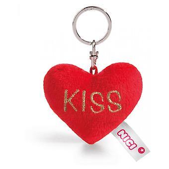 "Keychain Red Heart ""Kiss"" Plush 6cm"