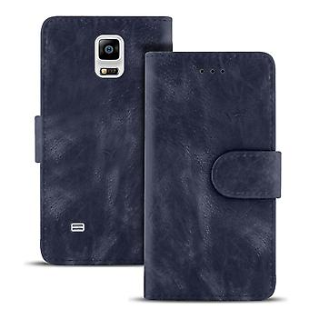 Vintage Portemonnee voor Samsung Galaxy Note 4 TPU Card Compartiment Magnetic Lock Navy Navy