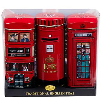 Heritage tea selection triple tea tins of 14 gift pack post box