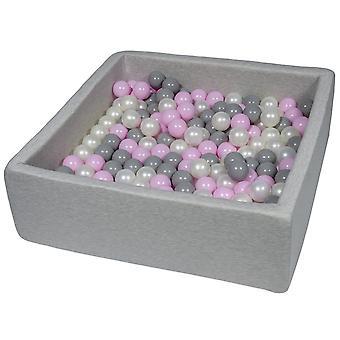 Kwadratowy dół kulkowy 90x90 cm z 200 kulkami z pereł, jasnofioletowy i szary