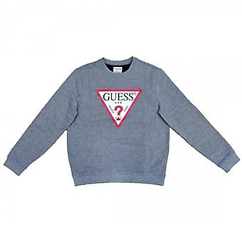 Guess Audley Classic Logo Crew Neck Sweatshirt Grey M0BQ37K7ON1