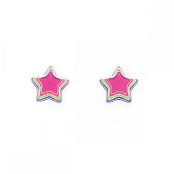 Beginnings Sterling Silver Multi Fluorescent Star Stud Earrings A717P