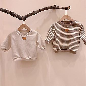 Höst nyfödda babykläder Bear Print Sweatshirt Bomull Långärmad Toppar Söt