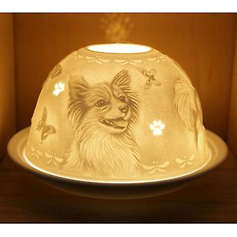 Nordic Lights Candle Shade And Plate - Papillon Dog