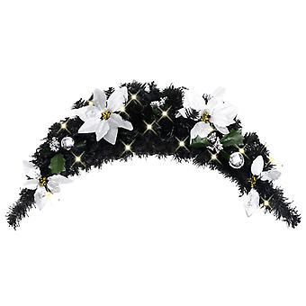 Christmas door arch with LED lights Black 90 cm PVC