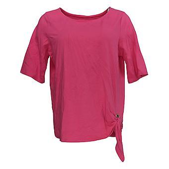 Belle by Kim Gravel Women's Top Grommet Side Tie T-shirt Pink A289018