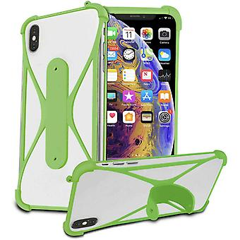 (Green) Soft Silicone Stretchy Bumper Stand Case X-Shape Design for Google pixel 4A