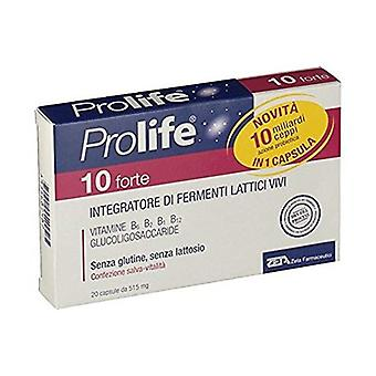 10 Forte- Supplement of Live Lactic Ferments 20 capsules of 515mg